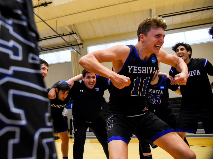 BALTIMORE, MD - MARCH 6: Ryan Turell #11 of Yeshiva pumps up his team prior to playing against WPI at Johns Hopkins University in Baltimore, MD on March 6, 2020. (Photo by Will Newton for The Washington Post)