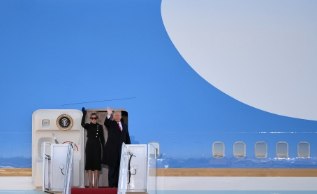 SUITLAND, MD - JANUARY 20: President Donald Trump and First Lady Melania Trump wave as they board Air Force One at Joint Base Andrews in Suitland, MD on January 20, 2021. (Photo by Will Newton for The Washington Post)