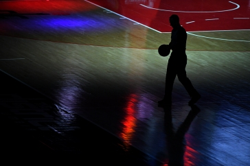WASHINGTON, DC - FEBRUARY 02: A referee walks with a basketball prior to the game between the Washington Wizards and the Portland Trail Blazers at Capital One Arena on February 02, 2021 in Washington, DC. NOTE TO USER: User expressly acknowledges and agrees that, by downloading and or using this photograph, User is consenting to the terms and conditions of the Getty Images License Agreement. (Photo by Will Newton/Getty Images)