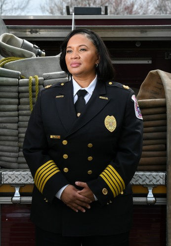 CHELTENHAM, MD - MARCH 23: Prince GeorgeÕs County Fire Department Chief Tiffany Green poses for a portrait at the Prince George's County Fire/EMS Training Academy in Cheltenham, MD on March 23, 2021. (Photo by Will Newton for The Washington Post)