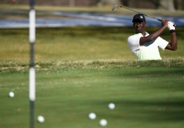 ROCKVILLE, MD - MARCH 26: Howard University golfer Edrine Okong practices at Woodmont Country Club in Rockville, MD on March 26, 2021. (Photo by Will Newton for The Washington Post)